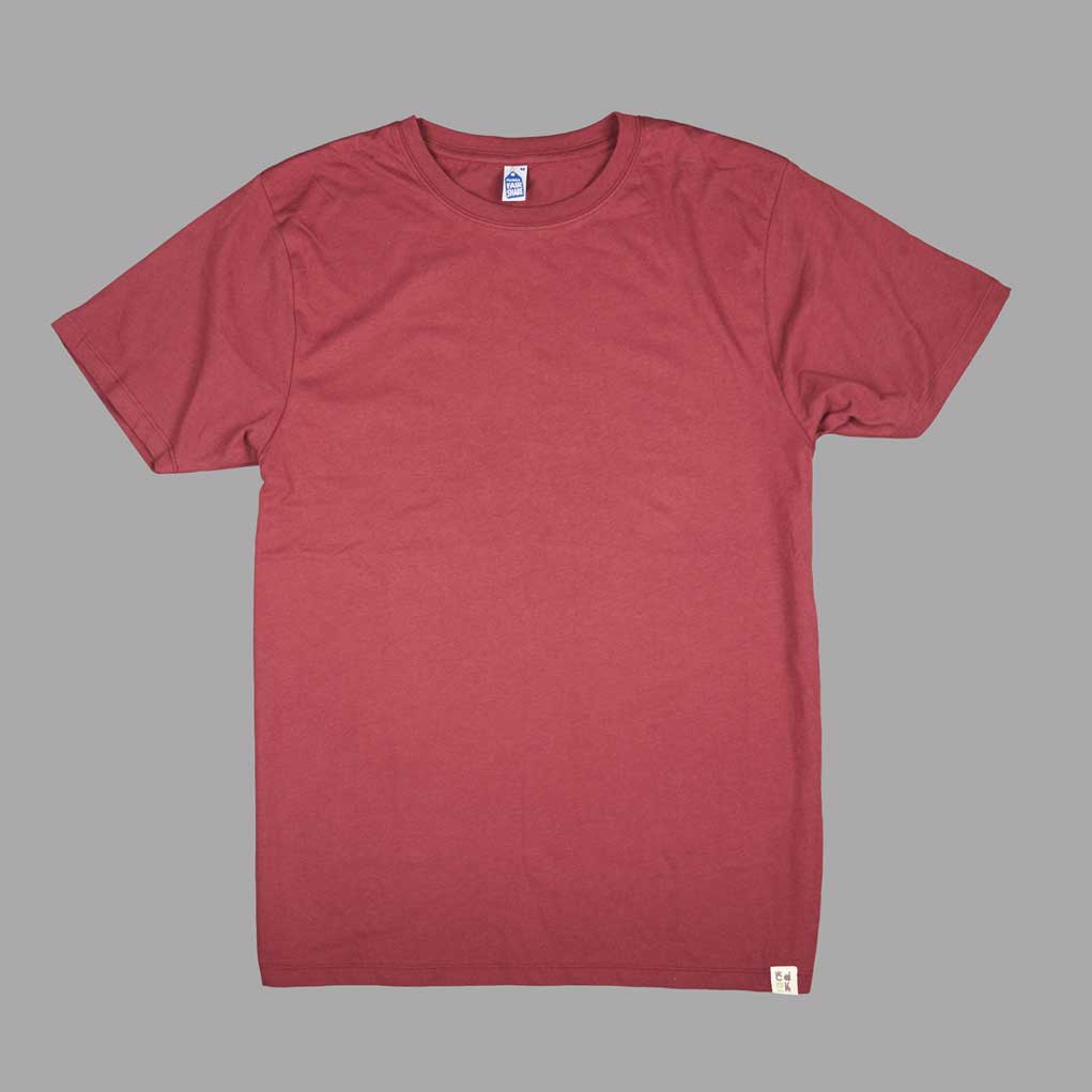 Front View Living wage t-shirt from CDUK in Burgundy