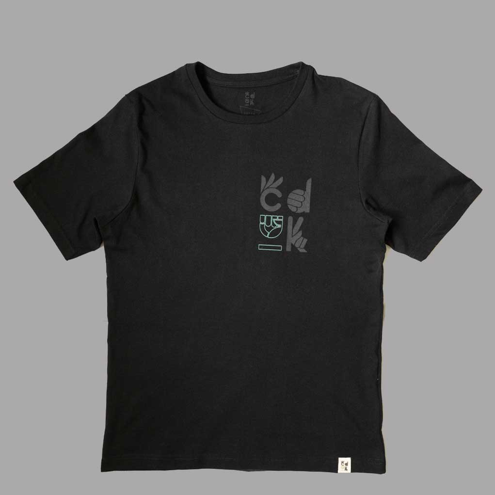 product shot of the front of a light black unisex t-shirt made from sustainable organic cotton and produced ethically by refugess paying a living wage.