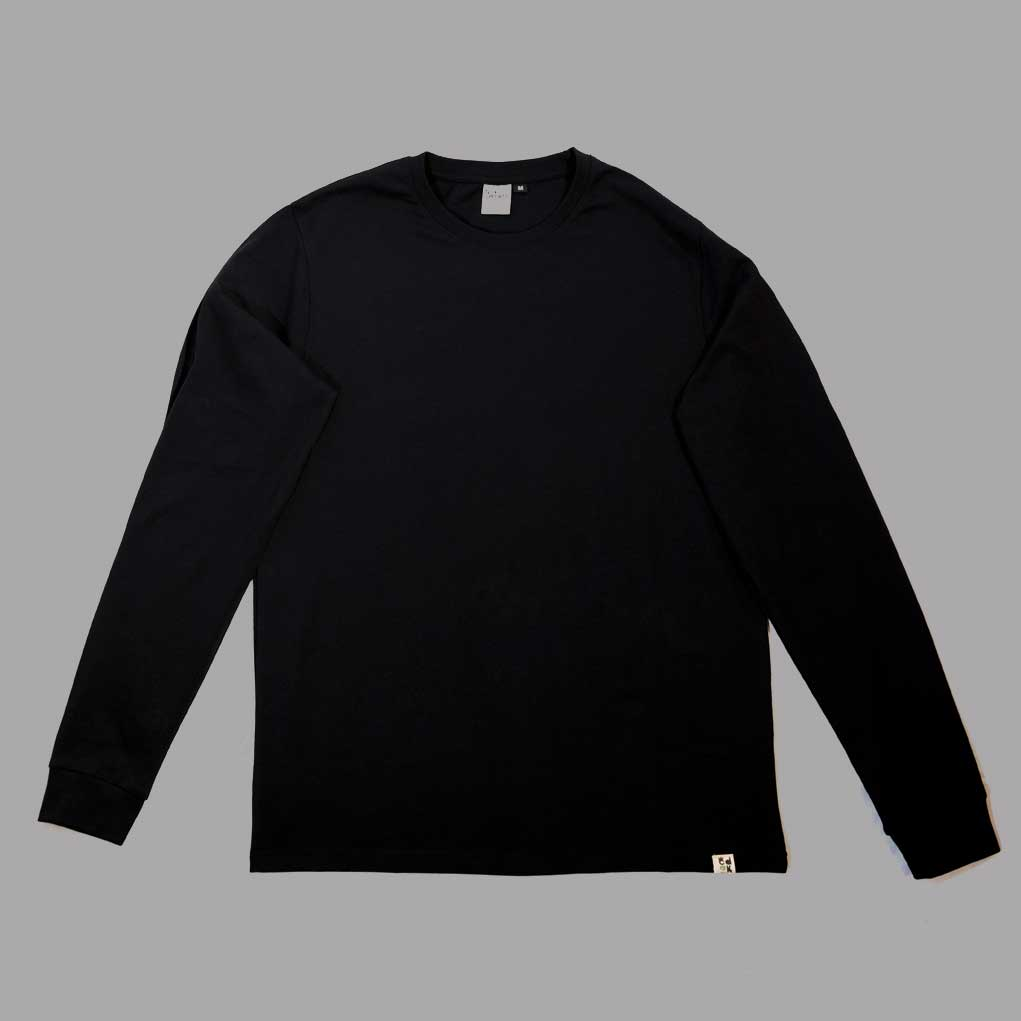 Black unisex long sleeve made from sustaible organic cotton and produced ethically paying a living wage.
